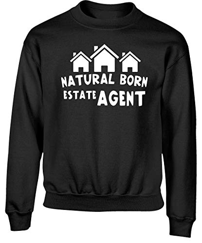 Hippowarehouse Natural Born Estate Agent Kids Children's Unisex Jumper Sweatshirt Pullover Black
