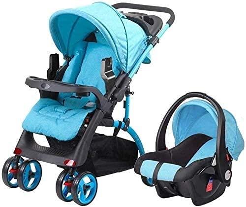 Los cochecitos livianos del bebé 2 en 1, pueden sentarse y plegar cochecitos para jinetes de cuatro ruedas con cochecitos con canasta, adecuados para todas las estaciones-gris (Color : Blue)