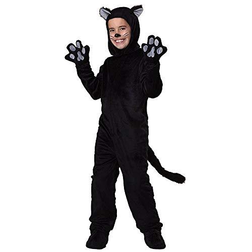 JJAIR Erwachsene und Kinder Schwarze Katzen-Kostüm, lustige Erwachsene Kostüme One-Size Kapuze Overall,Kids,S