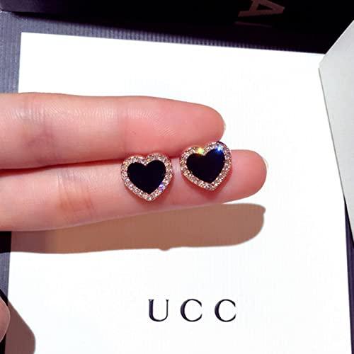 CXWK Pendientes Coreanos Bonitos con Forma de corazón y Piedra de circonita, Pendientes de Oro Rosa para Mujer, Regalo de joyería de Moda