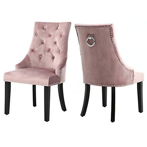 Lifelook 2er-Set Esszimmerstühle aus Samt, geknöpft, verzierte Küchenstühle mit Rückenring, Klopfer, Walnussholz Stuhlbeine Sesselstuhl, Moderne Esszimmermöbel(Rosa)