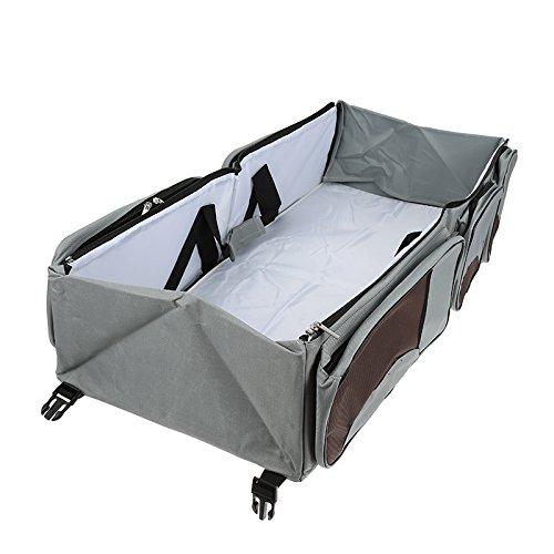 Flyelf 3 in 1 Baby Wickeltaschen mit Schnallen Reise Kinderbett Tasche Wiege 40×40×15 cm (Grau)