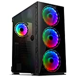 GIM MB8 ATX Case, Mid-Tower PC Gaming Chassis, Compact Computer Case with Tempered Glass Panel, 4 RGB Fans Pre-Installed, Water-Cooling Ready, Cable Management System - Black