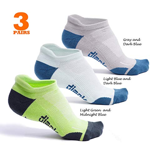 dimok Athletic Running Socks - No Show Wicking Blister Resistant Long Distance Sport Socks for Men and Women (Mixed4, Large)