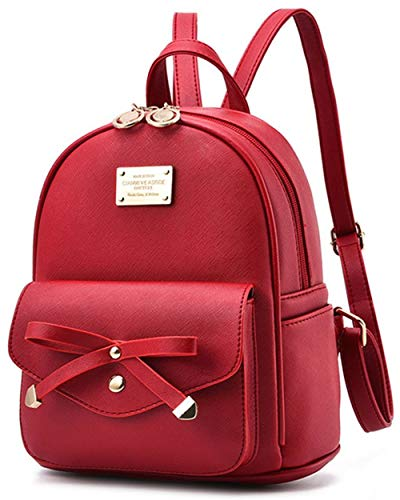Women Backpack Mini Backpacks Girls Bowknot PU Leather Backpack Purse Cute Shoulder Bags Backpack for Ladies Small Rucksack Teenagers