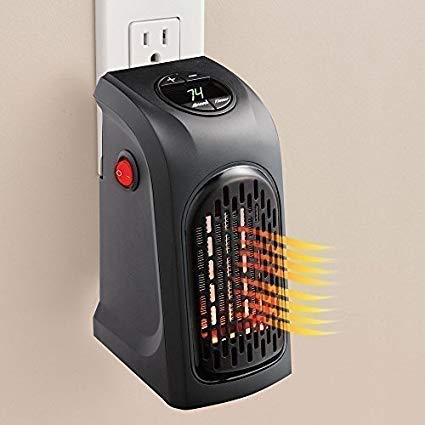 PAGALY Small Electric Handy Room Heater Compact Plug-in||The Wall Outlet Space Heater 400Watts Garage Bathroom Home||Handy Air Warmer Blower Adjustable Timer Digital Display for Office/Camper