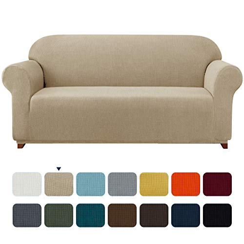 subrtex Spandex Sofabezug Stretch Sofahusse Couchbezug Sesselbezug Elastischer Antirutsch Stretchhusse für Sofa (3 Sitzer, Sand)