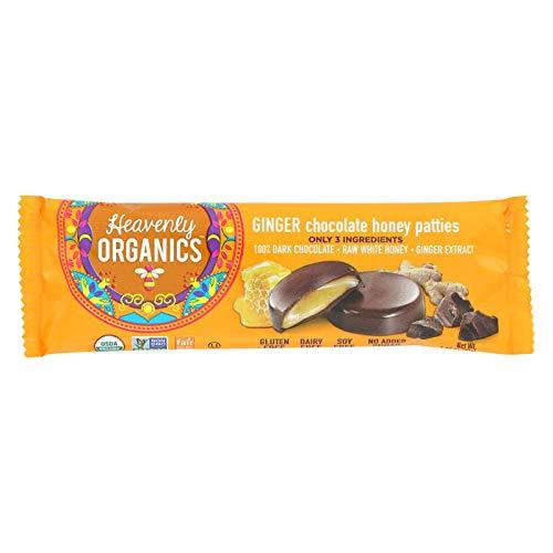 Heavenly Organics Ginger Chocolate Honey Patties (16 Per Box) Made with 100% Organic Cocoa and 100% Organic Raw White Honey; Non-GMO, Fair Trade, Kosher, Dairy & Gluten Free, No Sugar Added