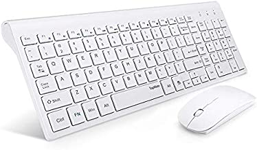 Wireless Keyboard and Mouse Ultra Slim Combo, TopMate 2.4G Silent Compact Full Size Keyboard Mice Set, Keyboard with Cover, 2 AA and 2 AAA Batteries, for PC/Laptop/Windows/Mac - White