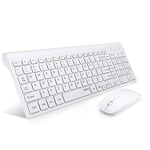 Wireless Keyboard and Mouse Combo, TopMate 2.4G Ultra Slim Compact Full Size Quiet Scissor Switch Keyboard and Mice Set forWindows, Mac OS, Laptop, PC - (White)