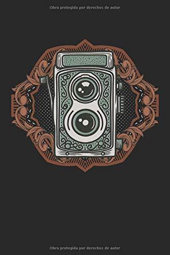Cámara analógica retro: Cámara de formato medio vintage cuaderno de regalos de fotógrafo de la vieja escuela rayado (formato A5, 15,24 x 22,86 cm, 120 páginas)
