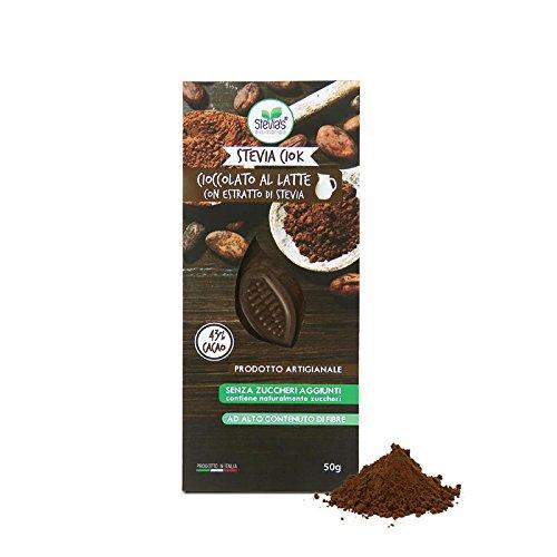 STEVIACIOK CIOCCOLATO AL LATTE 43% senza zuccheri aggiunti, dolcificato con Stevia peso netto 50g - Ideale per diabetici . Ipocalorico.Ricco di fibre
