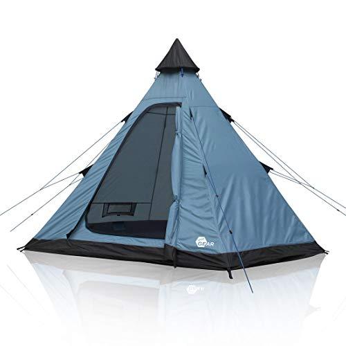 your GEAR Zelt Lido 290 | 3 Personen Tipi-Zelt Bodenwanne UV 50+ Schutz Insektenschutz Stehhöhe Wasserdicht 5000 mm Blau Grau