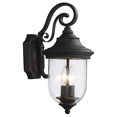 Zeyu Dusk to Dawn Sensor Outdoor Wall Lighting, 18.5 Inch Outdoor Wall Lantern for House, Black Finish with Seeded Glass Shade, ZD10B-SE BK