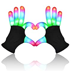 FEATURES: Light up Gloves for kids had 3 Colors 6 Modes, Rave Light Finger Lighting Flashing Glow Mittens. Easy to use. Different color settings and patterns the light run through by pressing the button on the wrist. Soft changing lights soothe as st...