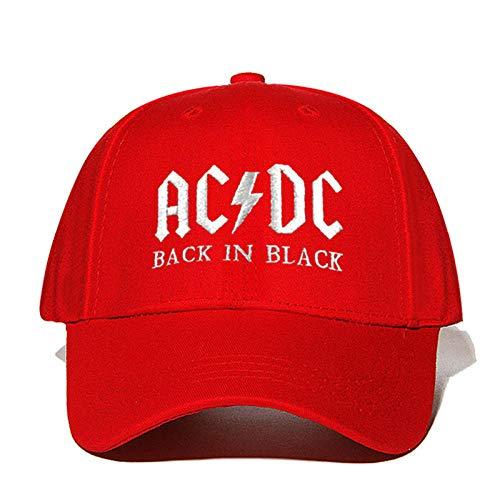 QIANWEIXI Baseball Cap Herren Rot Ac/Dc Baseballmütze Rock Hip Hop Cap Mens Hysteresenhut Stickerei Brief Casual Papa Hut Gebogen Trucker Hat