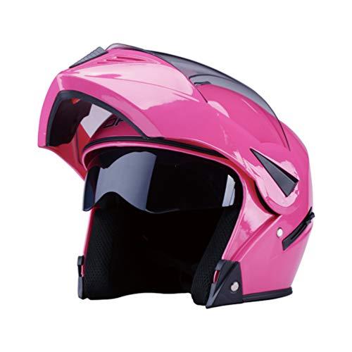 Qianliuk Moto Moto Casco Moto otoño Invierno Anti-Niebla Moto Cap Seguridad Doble Lente reVelada Cara Completa Motocross Casco Adulto