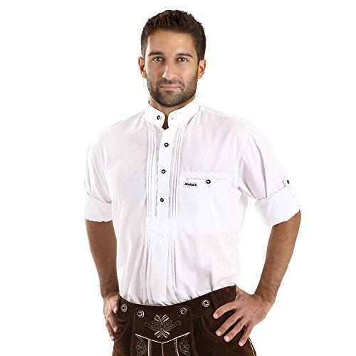 ALMBOCK Trachten Hemd Herren weiß - Trachtenhemd mit Stehkragen aus Baumwolle, fürs Oktoberfest, slim-fit, langarm - traditionelles Trachtenhemd verfügbar in Gr. S-XXXL