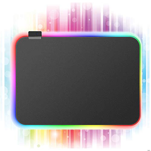 RGB Gaming Mouse Pad Soft Non-Slip Rubber Base Mouse Mat with 14 Lighting Modes,Soft Computer Keyboard Mouse Pad for MacBook, PC, Laptop, Desk(13.8 X 9.8 X 0.16 inches, Black)