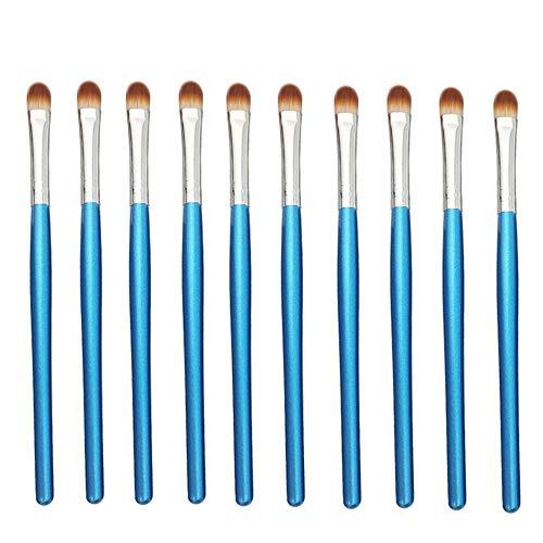 Professionele make-up kwast 10-delig/zak, 5 zakken in 1 pakket, 50 stuks professionele oogschaduw kwast oogcosmetische kwast blauw zilver blauw zilver.