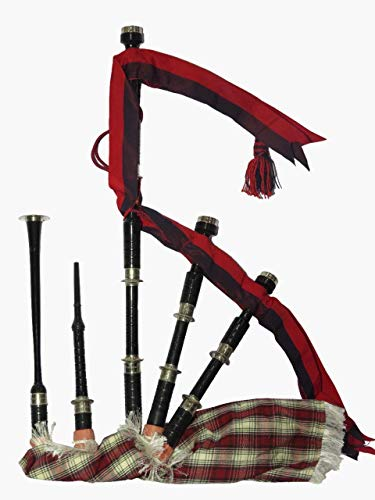 Bagpipers Music Wood & Nickel Material Bagpipe Set With Handle Care (Black & Red)