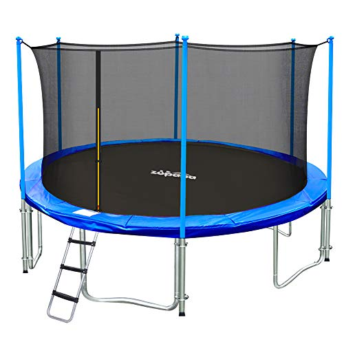 Zupapa 15 14 12 10 FT Kids Trampoline with Enclosure net, Ladder Safety Pad Jumping Mat Spring Pull T-Hook, Include All Accessories, Great Outdoor Backyard Trampoline (10FT)
