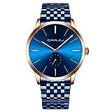 Reloj de Pulsera de Cuarzo analógico para Hombre, Esfera Minimalista, Resistente al Agua, Reloj de Moda, Pulsera de Acero Inoxidable, Regalo Elegante para Hombre, Azul