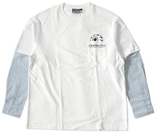 MISHKA ミシカ ロンT 長袖 シャツレイヤード ストライプ柄 ポケットキープウォッチ (M21000061) M WHITE