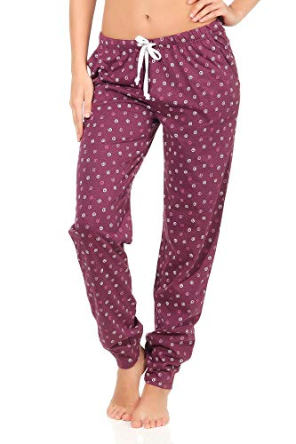 NORMANN Waswerk dames pyjama broek lang, Kringel' - Mix & Match - perfect om te combineren, 291 222 90 904, kleur: bessen, maat 2:40/42