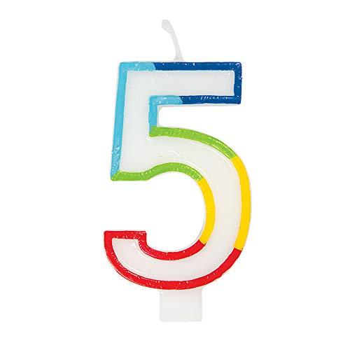 Unique Party - Vela de Cumpleaños con Borde Arcoíris Número 5 (19945)