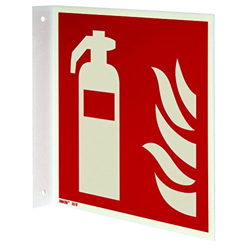 Feuerlöscher Fahnenschild, Aluminium langnachleuchtend, 150 x 150 mm gemäß ASR A1.3 / ISO 7010 F001, Brandschutzzeichen, 15 x 15 cm
