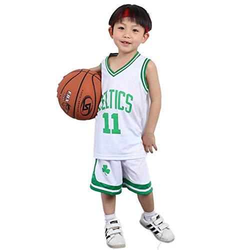 KSWX Camiseta de Baloncesto Niño Celtics # 11 Ropa De Entrenamiento De Baloncesto para Hombres Y Mujeres Kaili-Owen De Secado Rápido Transpirable,White,L
