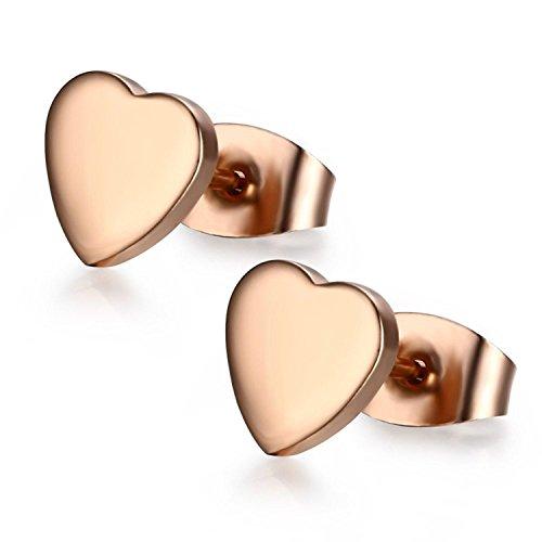 Blowin par de corazón de acero inoxidable de hipoalergénico oído studs stud pendientes para Teengirls Mujer, Oro Rosa, 2pcs