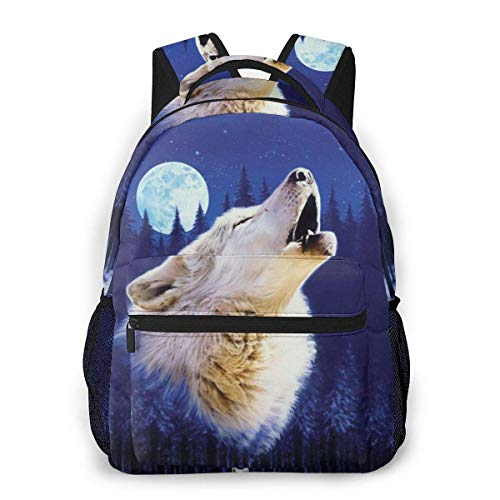 Lawenp Fashion Unisex Backpack Cool Blue Wolf Bookbag Lightweight Laptop Bag for School Travel Outdoor Camping