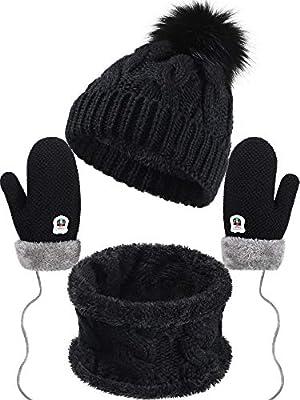 Winter Kids Hat Scarf Gloves Set Beanie Hat Thick Scarf Knit Mittens Warm Lining