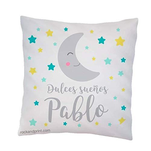 Cojín decoración dulces sueños luna. 40x40 cm, incluye relleno. Elige el color. Regalo nacimiento, recién nacido, bebe. Cojines infantiles originales. Siesta guardería Idea Navidad bebe