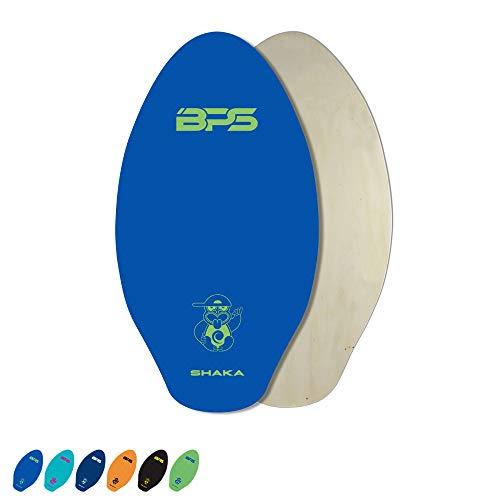 BPS 'Shaka' 35 Inch No Wax Needed Skim Board - Epoxy Coated Wood Skimboard with EVA Pads - Skimboard for Beginner to Advanced (Blue)