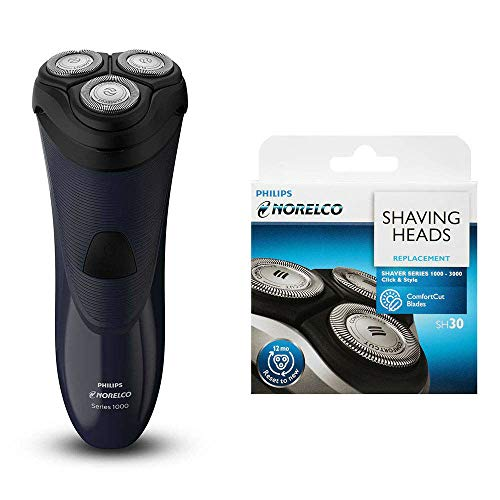 Philips Norelco S1150/81 Dry Electric Shaver Series 1100 with SH30 Replacement Shaver Head - Bundle