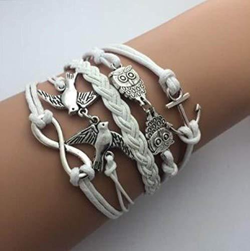 Generic Damen Lederarmband,Vintage Leder Geflochten Armreifen Eule Vogel Ruder Multilayer Handgewebte Weiß Charme Bracelets Persönlichkeit Männer Jungen Frauen