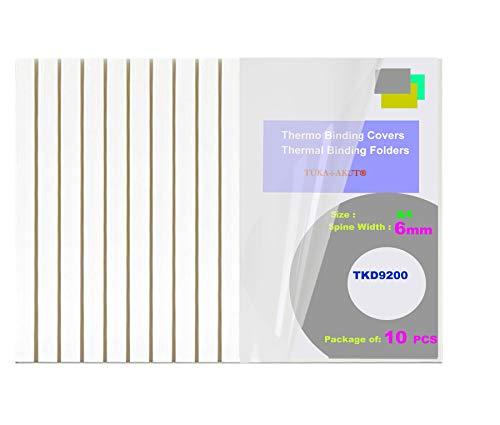 TUKA-i-AKUT [ 10x A4 6mm ] Thermobindemappen A4, Rückenbreite 6 mm, 10 Stück Thermo-Bindemappe für Thermo-Bindemaschinen, Bindergeräte, Binderücken | 10er Pack in Weiß, TKD9200 White A4-10x