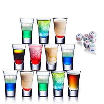Clear Shot Glass Shot Glasses set of 12 1.5 Oz Acrylic Shot Glasses as 21st Birthday Gift with 6 Dices,Shot Glasses for Shots & Liquors