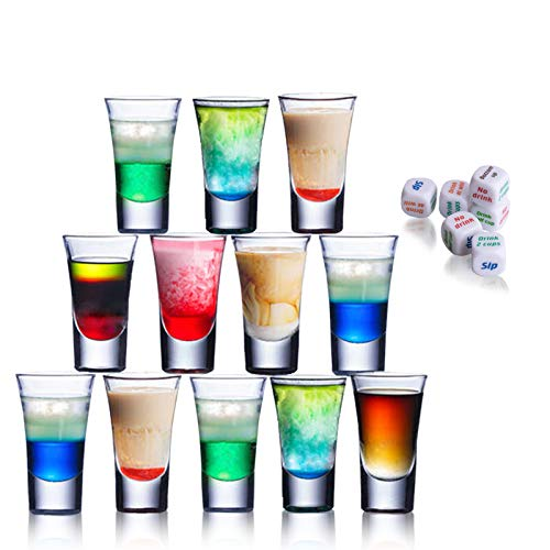 Party Shot Glasses, 12-Pack Shot Glass, 1.5-Ounce Acrylic Shot Glasses with 6 Dices for Tequila, Vodka, Cocktail