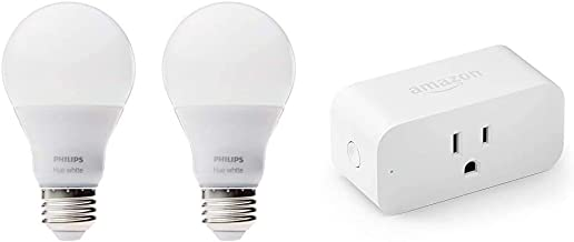 Philips Hue White A19 2-Pack 60W Equivalent Dimmable LED Smart Bulbs, Old Version & Amazon Smart Plug, Works with Alexa – ...