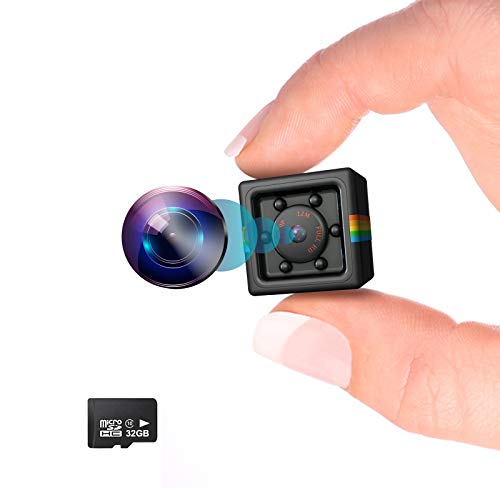 Kolaura Hidden Wireless Mini Camera with Night Vision and Motion Detection Full HD1080P Rechargeable Portable Small Wireless Spy Camera for Indoor Outdoor and Office 【32GB TF Card Included】