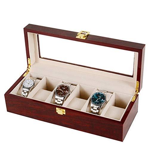 Asvert Uhrenbox für 6 Uhren mit Glasanzeige Oberseite, Elegantes Aussehen,Schmuck-Boxen Aufbewahrungsboxen Display-Boxen, braune Farbe