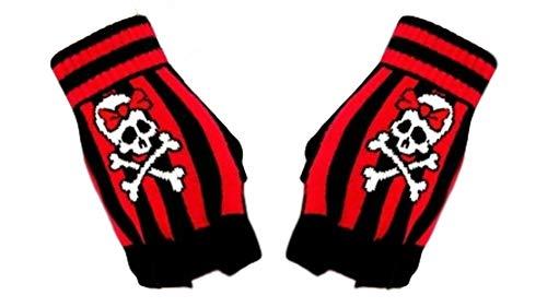 Fingerlose Handschuhe Totenkopf + Knochen,Handstulpen Totenkopf,Fingerless gloves skull & Bones,Guantes sin dedos calavera,Crâne de gants sans doigts