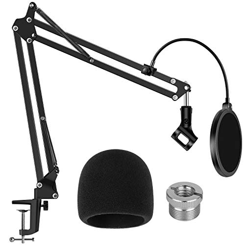 InnoGear Mic Stand for Blue Yeti, Heavy Duty Microphone Stand with Microphone Windscreen and Dual Layered Mic Pop Filter Suspension Boom Scissor Arm Stands for Blue Spark and Other Mics, Medium