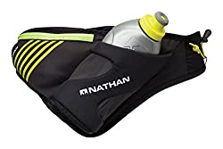 Nathan Peak Hydration Waist Pack, black color. Used for running marathons.