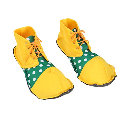 BESTOYARD Ein Paar Unisex-durchschnittliche Größe Clown Schuhe Dot Clown Schuhe Kostüm für Erwachsene (Gelb und Grün)