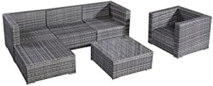 Castlebay 6pc Patio Sofa Furniture Set Pe Rattan Couch Outdoor Aluminum Cushioned Gray